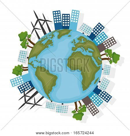 Sustainable city with wind energy vector illustration design