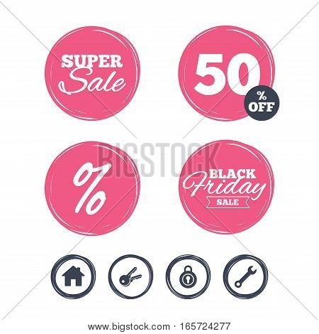 Super sale and black friday stickers. Home key icon. Wrench service tool symbol. Locker sign. Main page web navigation. Shopping labels. Vector