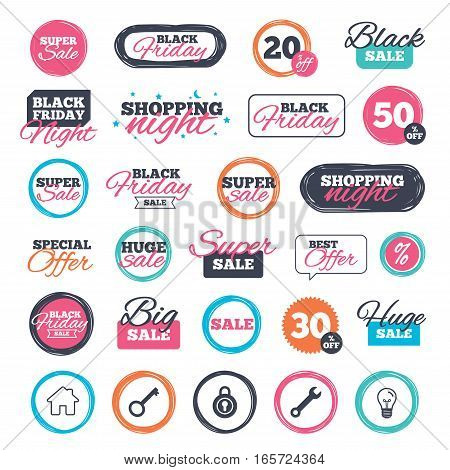 Sale shopping stickers and banners. Home key icon. Wrench service tool symbol. Locker sign. Main page web navigation. Website badges. Black friday. Vector