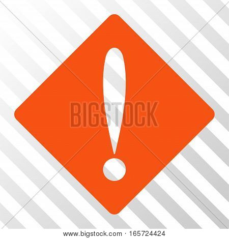 Orange Problem interface toolbar pictogram. Vector pictograph style is a flat symbol on diagonally hatched transparent background.