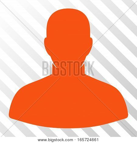 Orange User toolbar pictogram. Vector pictograph style is a flat symbol on diagonal hatch transparent background.