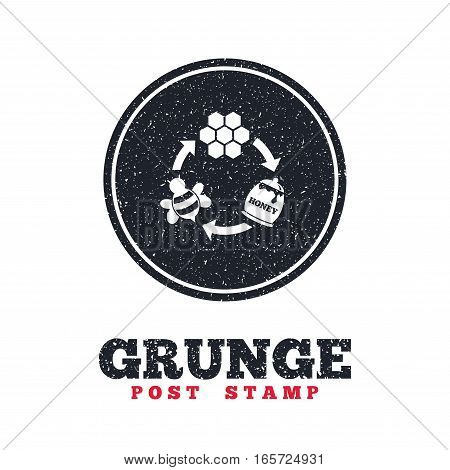 Grunge post stamp. Circle banner or label. Producing honey and beeswax sign icon. Honeycomb cells symbol. Honey in pot. Sweet natural food cycle in nature. Dirty textured web button. Vector