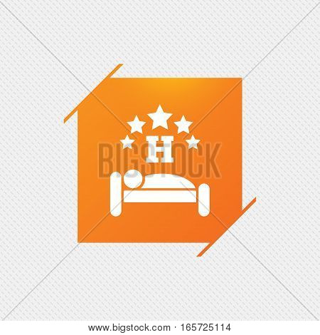 Five star Hotel apartment sign icon. Travel rest place. Sleeper symbol. Orange square label on pattern. Vector