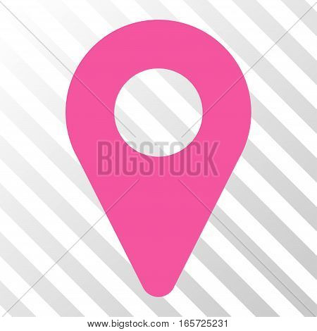 Pink Map Marker interface icon. Vector pictogram style is a flat symbol on diagonal hatch transparent background.