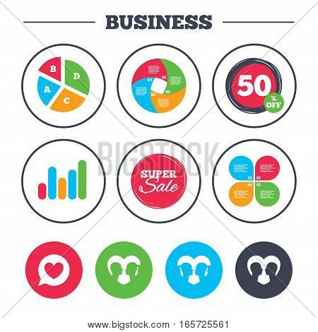 Business pie chart. Growth graph. Couple love icon. Lesbian and Gay lovers signs. Romantic homosexual relationships. Speech bubble with heart symbol. Super sale and discount buttons. Vector
