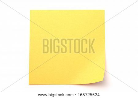 Yellow paper stick note on a white background