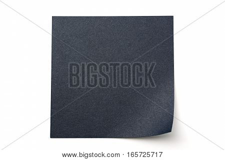 Black paper stick note on a white background