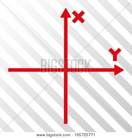Red Cartesian Axes interface toolbar icon. Vector pictogram style is a flat symbol on diagonal hatch transparent background.