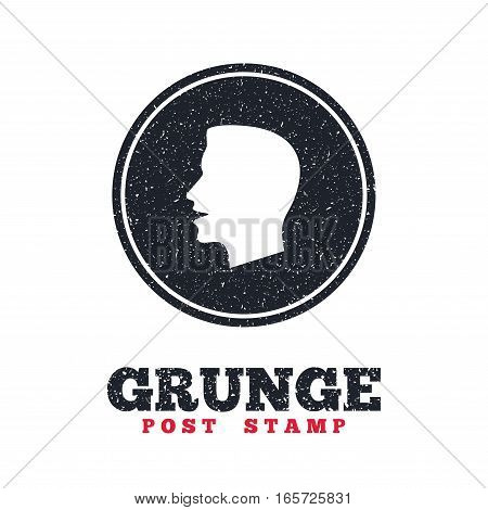 Grunge post stamp. Circle banner or label. Talk or speak icon. Loud noise symbol. Human talking sign. Dirty textured web button. Vector