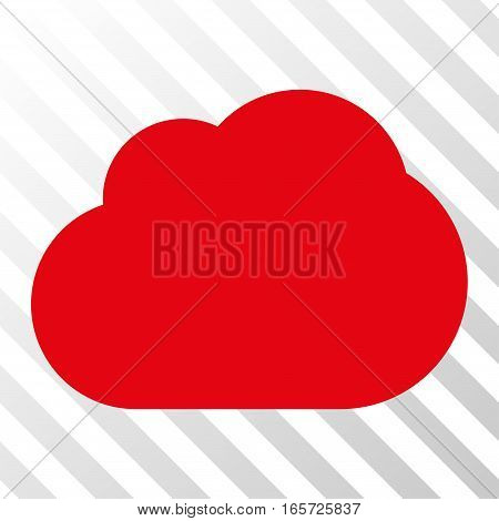 Red Cloud toolbar pictogram. Vector pictogram style is a flat symbol on diagonally hatched transparent background.