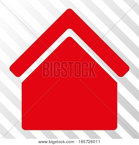 Red Home toolbar icon. Vector pictogram style is a flat symbol on diagonal hatch transparent background.