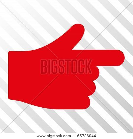 Red Index Hand interface pictogram. Vector pictogram style is a flat symbol on diagonally hatched transparent background.
