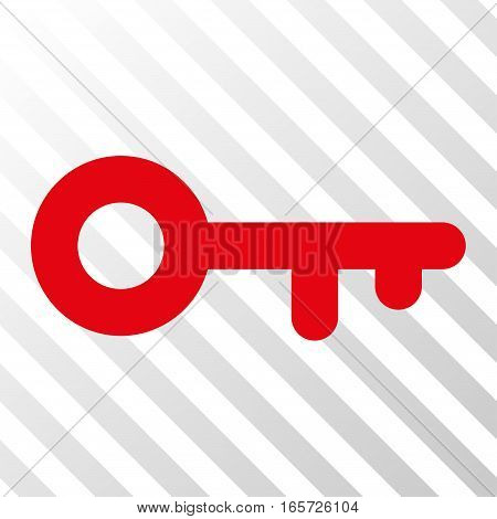 Red Key toolbar pictogram. Vector pictograph style is a flat symbol on diagonally hatched transparent background.