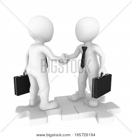 3D Business People On Puzzle Pieces Shaking Hands