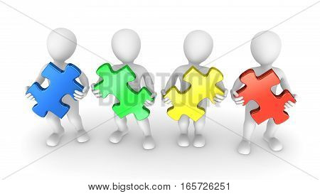 3D People With Colored Puzzle Pieces