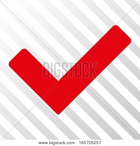 Red Ok interface pictogram. Vector pictogram style is a flat symbol on diagonally hatched transparent background.