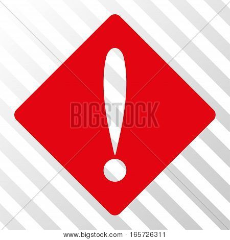 Red Problem interface icon. Vector pictograph style is a flat symbol on diagonal hatch transparent background.