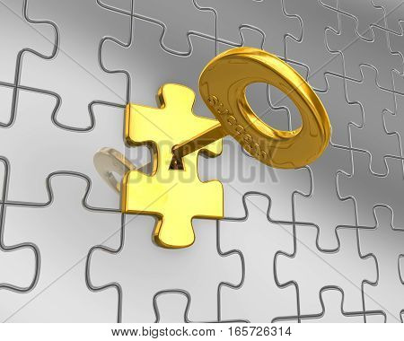 3D Puzzle And Golden Key
