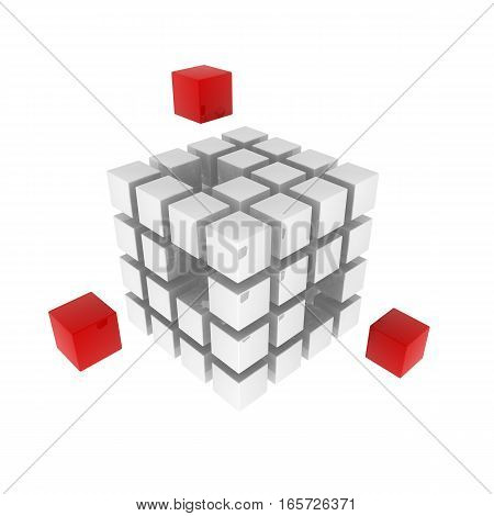 Cubic white puzzle isolated on white background. 3d rendered illustration.