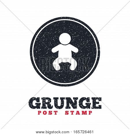 Grunge post stamp. Circle banner or label. Baby infant sign icon. Toddler boy in pajamas or crawlers body symbol. Child WC toilet. Dirty textured web button. Vector