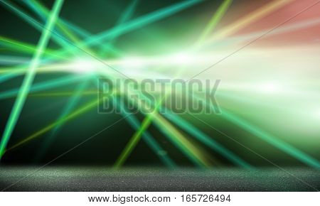 Background image with stage blurred green lights and beams