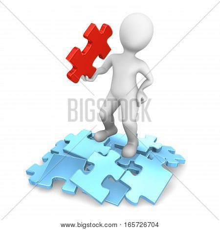 I Have Found The Solution! 3D Man With Jigsaw Puzzle.
