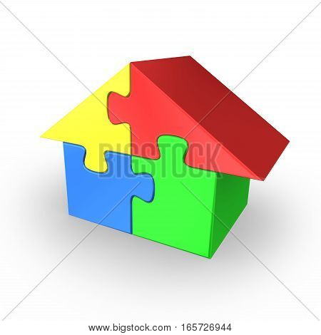 Colored house jigsaw puzzle. 3d rendered illustration.