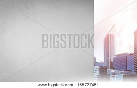 Cement blank banner wall and city on horizon. Place your text