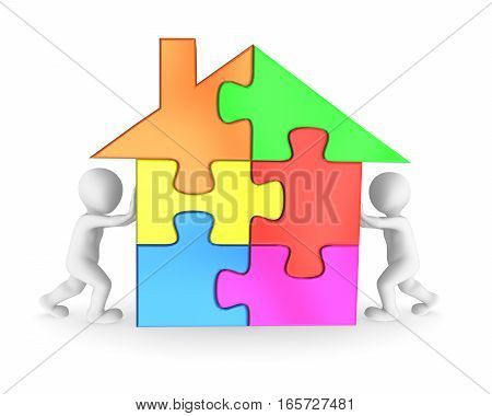 3D People Finishing The House Puzzle
