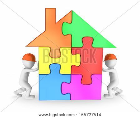 3D Workers Finishing The Colored House Puzzle