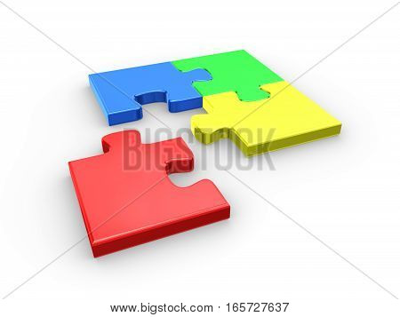 Jigsaw puzzle pieces isolader on white background. 3d rendered illustration.