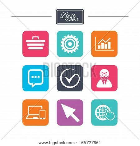 Internet, seo icons. Tick, online shopping and chart signs. Anonymous user, mobile devices and chat symbols. Colorful flat square buttons with icons. Vector