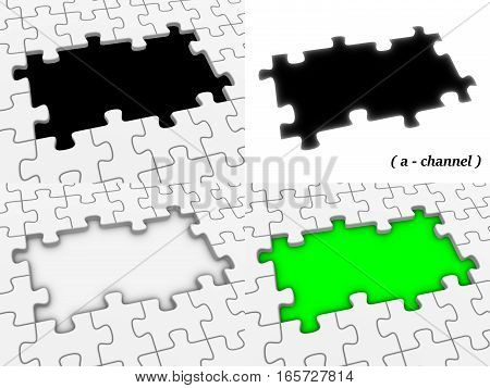 Empty Jigsaw Puzzle With Hole And Alpha Channel