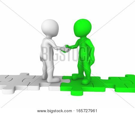 3D People Standing On Puzzle Pieces Shaking Hands