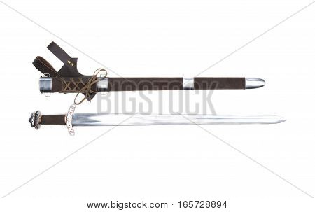 Replica of the beautiful stiklestad vikings sword with scabbard on a white background.