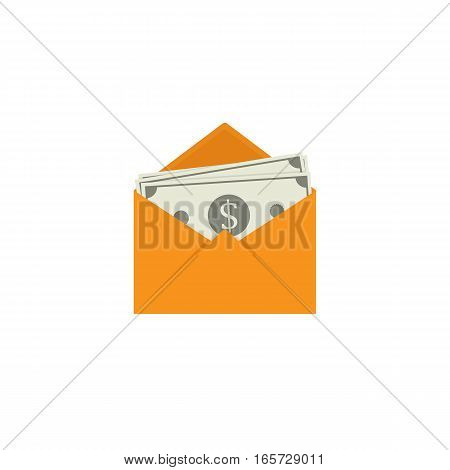 Flat Design of Banknote in Yellow Envelope