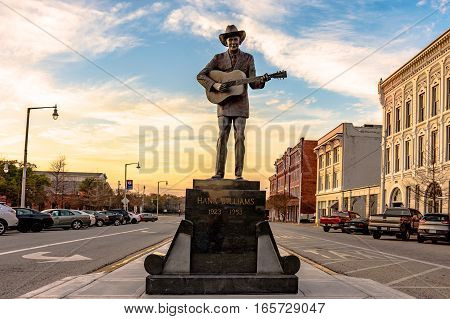 Montgomery Alabama USA - January 17 2017: Statue of Hank Williams the famous country singer in its new location on Commerce Street.