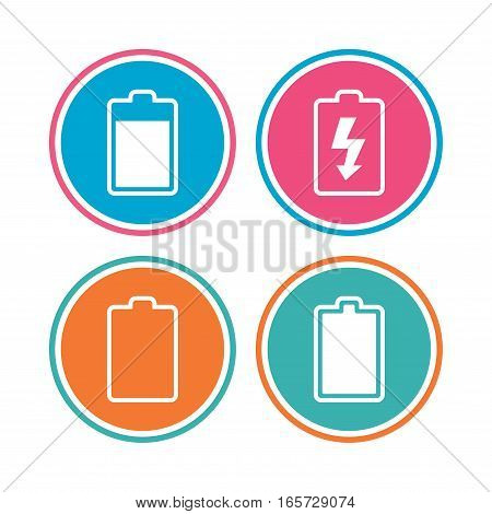 Battery charging icons. Electricity signs symbols. Charge levels: full, empty. Colored circle buttons. Vector