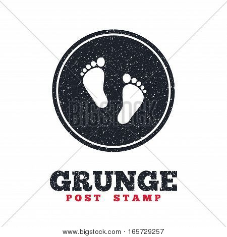 Grunge post stamp. Circle banner or label. Child pair of footprint sign icon. Toddler barefoot symbol. Baby's first steps. Dirty textured web button. Vector