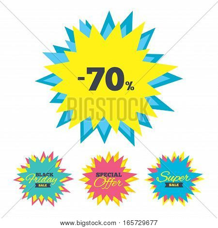 Sale stickers and banners. 70 percent discount sign icon. Sale symbol. Special offer label. Star labels. Vector