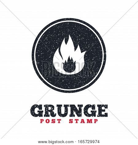 Grunge post stamp. Circle banner or label. Fire flame sign icon. Fire symbol. Stop fire. Escape from fire. Dirty textured web button. Vector