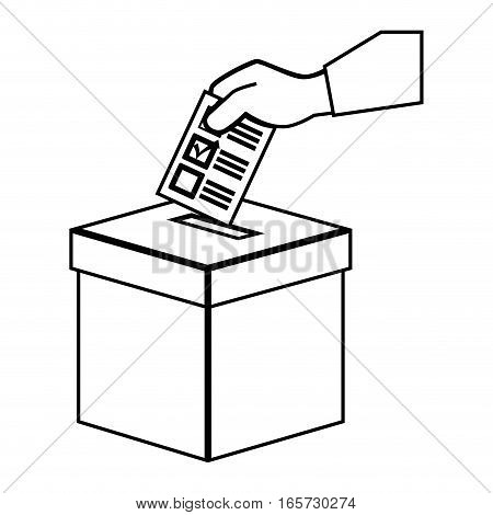 hand human with vote card vector illustration design
