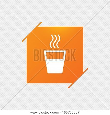 Hot water sign icon. Hot drink glass symbol. Orange square label on pattern. Vector
