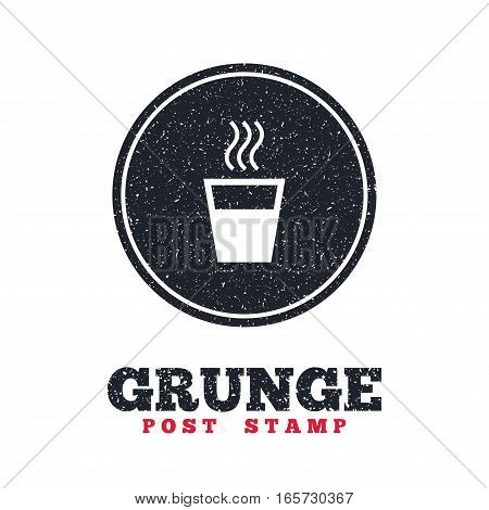 Grunge post stamp. Circle banner or label. Hot water sign icon. Hot drink glass symbol. Dirty textured web button. Vector