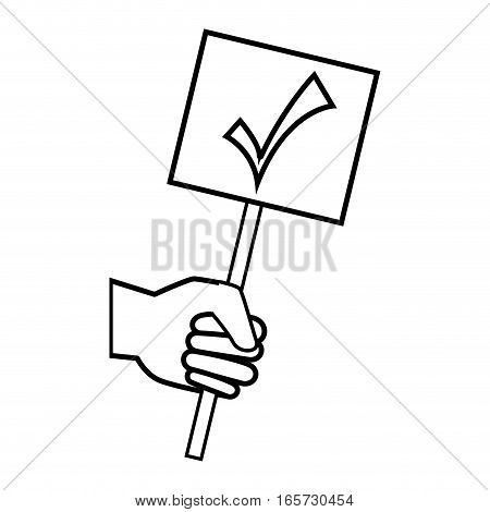 hand human with banner election vector illustration design