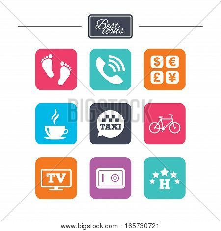 Hotel, apartment services icons. Coffee sign. Phone call, kid-friendly and safe strongbox symbols. Colorful flat square buttons with icons. Vector