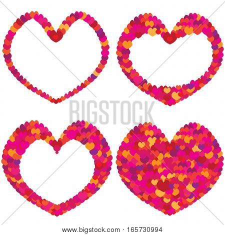 Colorful hearts that mix and are arranged in the shape of a heart.