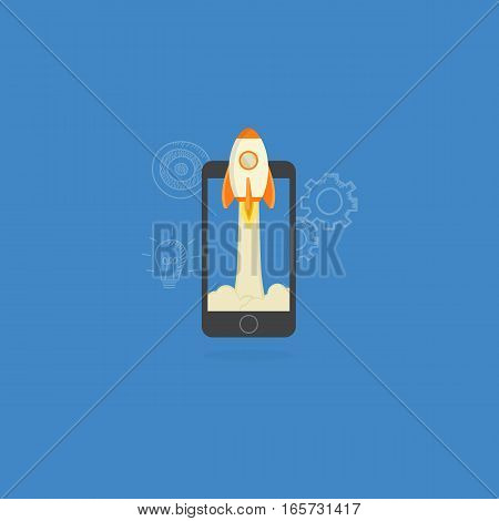 Mobile Startup Illustration, Rocket Launch from Mobile Phone
