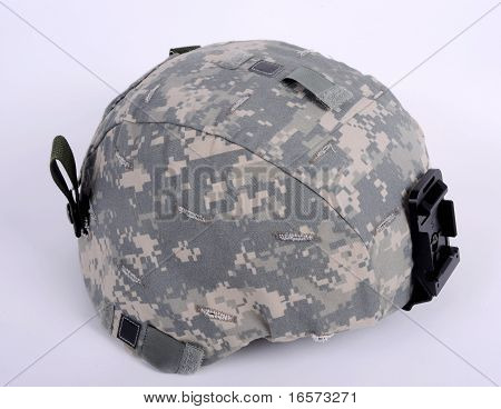 21st century helmet the American ACH (Advanced Combat Helmet). The helmet is worn with the UCP camo cover. This cover has IR reflective tabs on both sides at the rear and on the crown. They can be covered when not required. poster