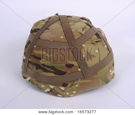 Latest British Mark 7 helmet with new MTP Multi Terrain Pattern camouflage cover. poster